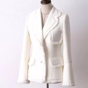Raw Snowflake Lux Tweed Pearl Pocket Jacket Coat